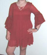 Ladies Med Short Fancy Red Dress Bat Wing Sleeves by band of gypsies