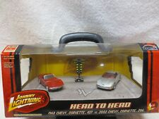 1968 Chevy Corvette 427 & 2002 Corvette Z06 Johnny Lightning with Drag light