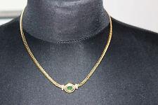 *Elegantes Collier, Kette 585 Gelbgold, mit Smaragt  Cabochon und Brillianten