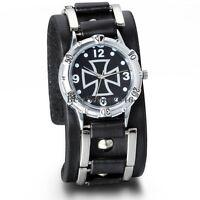 Mens Military Army Black Wide Leather Band Cross Sport Quartz Analog Wrist Watch