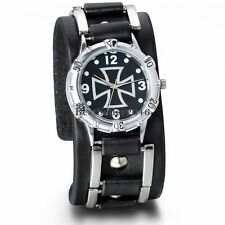 Mens Military Army Black Wide Leather Band Cross Sport Quartz Analog Wrist Watch