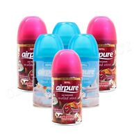 6 X AIRPURE AUTOMATIC AUTOMATIC SPRAY REFILLS 250ML LINEN & MULLED WINE