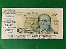 Brazil 500 Cruzados international currency notes + China 1 Fen