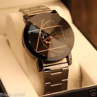 Luxury Men's Watch Lover Compass Stainless Steel Analog Quartz Wrist Watches NEW