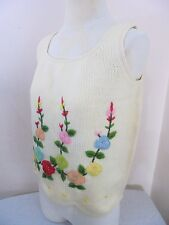 Vtg Cyn Les Sweater Vest Floral Needlepoint Womens L British Hong Kong