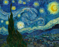 Starry Night Vincent Van Gogh Fine Art Print Canvas Reproduction Giclee Painting