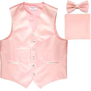 New Men's formal vest Tuxedo Waistcoat_bowtie & hankie set pink prom wedding
