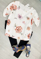 Valentina Naldi New Tags Sz L 100% Linen White Floral Blouse Top 3/4 Sleeves