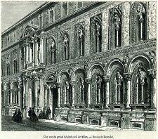 Milano: Ospedale Maggiore. Policlinico Universtà.Stampa Antica.Passepartout.1864