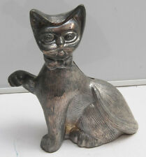 "Cat Kitten Paws Sitting Bank - Silver Plated Approx 6"" Tall - USED C09N"