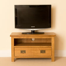 Lanner Oak Small TV Stand Unit Rustic Solid Wooden Television Media Cabinet 80cm