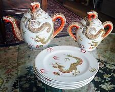 Vintage Japanese Hand Decorated Dragonware China Teapot & Sugar Pot & 4 Plates