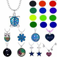 Turtle Owl Flower YinYang Star Heart Color Change Thermo Mood Pendant Necklace