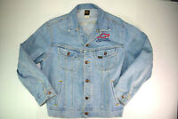vtg Lee Embroidered Denim Jacket Sz L Genuine Cheverolet 80s Heart Beat America