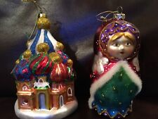 Glass Russia Building And Babushka PURPLE,BLUE, Red CHRISTMAS TREE ORNAMENTS Two