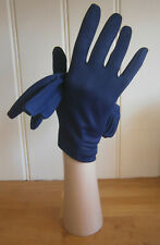 VINTAGE 1960s MIDNIGHT BLUE WRIST LENGTH NYLON GLOVES PLEATED DETAIL WEDDING