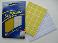 Sticky Hook & Loop Self Adhesive Pads, Re-useable, Pack 24, By Sellotape