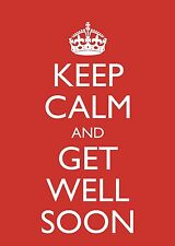 """""""Keep Calm and Get Well Soon"""" Quality Large A5 Blank Greetings Card & Freepost!"""