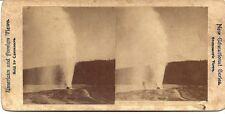 1800's Real Photo Stereo Vw Lone Star Geyser - Erupting