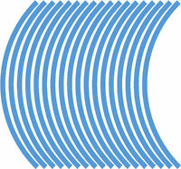 9mm wheel rim tape striping stripes stickers L BLUE..(38 pieces/9 per wheel)