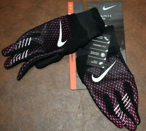 NIKE THERMA-FIT ELITE 2.0 RUN RUNNING GLOVES WOMEN'S Large BLACK/PINK NWT NEW