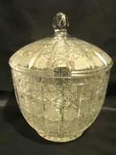 EAPG PUNCH BOWL & LID CLEAR GLASS GEOMETRIC SHAPES & DESIGNS UNK MAKER UNSIGNED