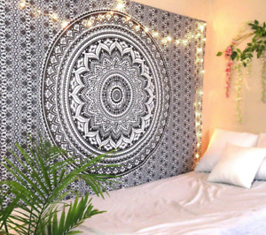 Twin Indian Grey Ombre Wall Hanging Tapestry Hippie Boho Mandala Bedsheets UK