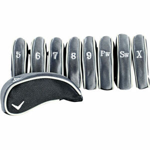 NEW Callaway Golf Deluxe Iron Head Covers Black / Grey 4-PW+SW+AW (9pc)