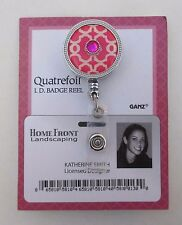 dd Pink quatrefoil ID BADGE holder Retractable REEL ganz teacher nurse