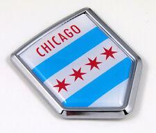 """2.5"""" chicago flag crest chrome car emblem auto"""