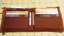Men's Fabric Vegan Wallet Bi-fold 12 card slots Brown