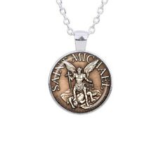 ST SAINT MICHAEL THE ARCHANGEL SILVER MEDAL NECKLACE PENDANT - GIFT BAG