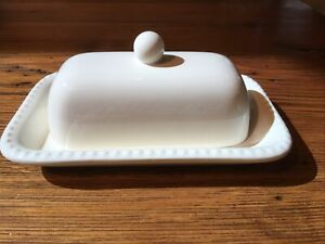 """Pottery Barn """"Emma"""" beaded white covered butter dish"""