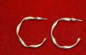 Pair gold-tone open hoop twisted PIERCED earrings