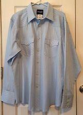 Wrangler Western Rockabilly Shirt Pearl Snap Light Blue Traditional Size XL EUC