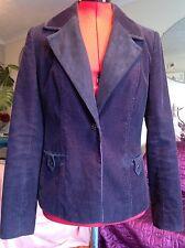 """Chic M & S PER UNA purple cotton cord with suedette collar jacket, 8, 25"""" L, vgc"""