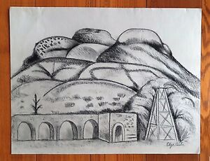 """OLGA COSTA 25.5"""" x 20"""" CHARCOAL ON THICK PAPER"""