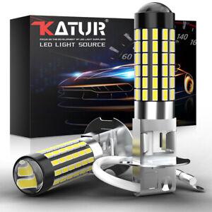 KaTur 2x H3 LED Auto Nebelscheinwerfer Scheinwerfer Birne 80W 6500K Leuchten 12V