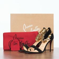 CHRISTIAN LOUBOUTIN 795$ PLANETAVA 85 In Black & Gold Suede