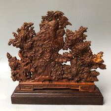Chinese Antique Boxwood hand-carved peacock peony Home decoration