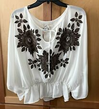 Max Studio NEW white embroidered gypsy blouse blouse Size Extra Small (XS)