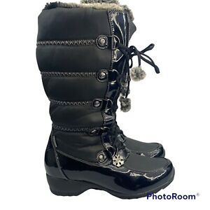 Sporto Ivy Winter Boots with Patent Leather detail Waterproof Woman's Shoes SZ 8