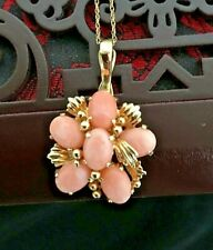 Pink Coral 14K Yellow Gold Pendant & Chain