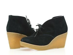Womens COLE HAAN 204036 Black Suede Wedges Booties Sz. 8 B