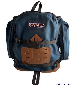 Vintage Jansport Large Side Pocket Blue Backpack Hiking Made In USA 1992