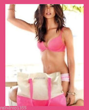 Victoria Secret Large Sexy Summer 2014 Tote Beach Bag Neon Pink Tan Canvas Gym