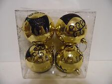 4 GOLD WITH BLACK GLITTER REINDEER CHRISTMAS ORNAMENTS DECORATION TREE