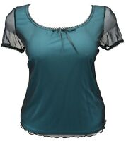Brand new size 18 - 28 Ex Evans Black mesh Turquoise lining top womens *LICK*