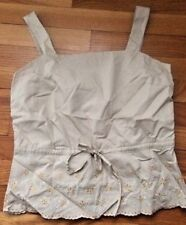 Willi Smith Women's Beige Sleeveless Top XS   NWT embroidered eyelets