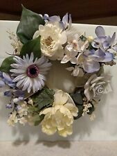 "Periwinkle White Pastel Yellow Flowered Wreath Diameter 12"" Hang Table Top Decor"